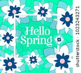 hello spring poster with paper... | Shutterstock .eps vector #1023243271