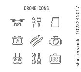 drone tool set. thin line icons | Shutterstock .eps vector #1023245017
