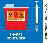 sharps container hiv trash... | Shutterstock .eps vector #1023247627