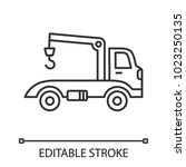 tow truck linear icon.... | Shutterstock .eps vector #1023250135