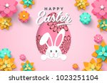 Stock vector easter card with paper cut egg shape frame with spring flowers on pink background vector 1023251104