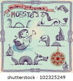background,banner,boat,brig,compass,compass rose,design,design elements,doodle,dragon,elements,explorations,fish,frame,grunge