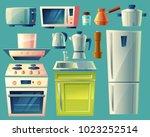 vector cartoon set of kitchen... | Shutterstock .eps vector #1023252514