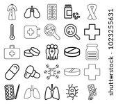 illness icons. set of 25... | Shutterstock .eps vector #1023255631
