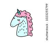 cartoon unicorn head... | Shutterstock .eps vector #1023255799
