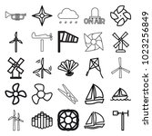 wind icons. set of 25 editable... | Shutterstock .eps vector #1023256849