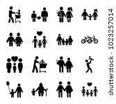 father icons. set of 16... | Shutterstock .eps vector #1023257014