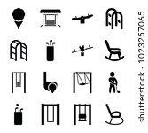 swing icons. set of 16 editable ... | Shutterstock .eps vector #1023257065