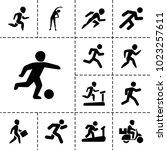 runner icons. set of 13... | Shutterstock .eps vector #1023257611