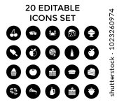 delicious icons. set of 20... | Shutterstock .eps vector #1023260974