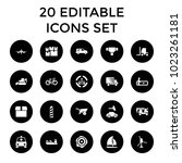 transportation icons. set of 20 ... | Shutterstock .eps vector #1023261181