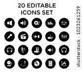 audio icons. set of 20 editable ... | Shutterstock .eps vector #1023261259