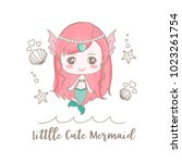 isolated a little cute mermaid... | Shutterstock .eps vector #1023261754