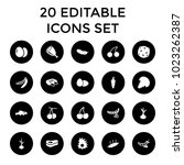 raw icons. set of 20 editable... | Shutterstock .eps vector #1023262387