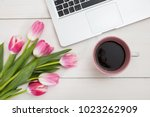 women's day. pink tulips... | Shutterstock . vector #1023262909