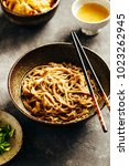 freshly cooked soba noodles in... | Shutterstock . vector #1023262945
