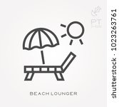 line icon beach lounger | Shutterstock .eps vector #1023263761