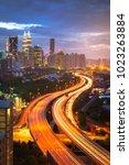 kuala lumpur city skyline in... | Shutterstock . vector #1023263884