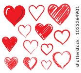 set of hand drawn hearts.... | Shutterstock .eps vector #1023264901
