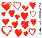 set of hand drawn hearts.... | Shutterstock .eps vector #1023264904