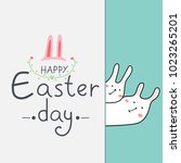 happy easter greeting card with ... | Shutterstock .eps vector #1023265201