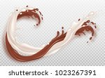 milk and chocolate flow. liquid ... | Shutterstock .eps vector #1023267391
