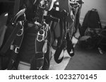 sport parachutes  packed before ... | Shutterstock . vector #1023270145