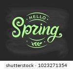 hello spring typography vector... | Shutterstock .eps vector #1023271354