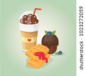 chocolate coffee  wafers with... | Shutterstock .eps vector #1023272059