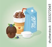 chocolate coffee  milk and... | Shutterstock .eps vector #1023272065