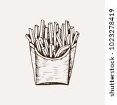 hand drawn french fries.... | Shutterstock .eps vector #1023278419