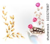 corn flakes oats milk spray 3d... | Shutterstock .eps vector #1023278587