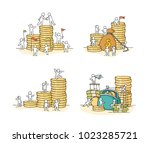 sketch set with little people... | Shutterstock .eps vector #1023285721