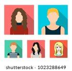 a dark girl  a redheaded boy  a ... | Shutterstock .eps vector #1023288649