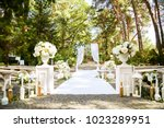beautiful arch for newlyweds of ... | Shutterstock . vector #1023289951