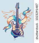 rock and roll funky guitar and...   Shutterstock .eps vector #1023291487