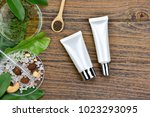 cosmetic bottle containers with ...   Shutterstock . vector #1023293095