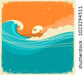 vintage seascape with island on ... | Shutterstock .eps vector #1023294511