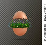 crack egg with flowers growing... | Shutterstock .eps vector #1023294544