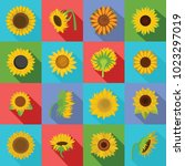 sunflower blossom icons set.... | Shutterstock .eps vector #1023297019