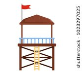 rescue tower icon. flat...   Shutterstock .eps vector #1023297025