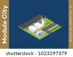 isometric city 3d airport... | Shutterstock .eps vector #1023297379
