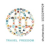 travel icons are grouped in... | Shutterstock .eps vector #1023299929