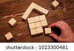 man complete wooden model of... | Shutterstock . vector #1023300481