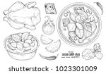 hand drawn illustration of thai ... | Shutterstock .eps vector #1023301009