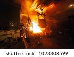 steel production in electric... | Shutterstock . vector #1023308599