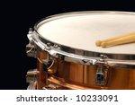 copper snare drum on black - stock photo