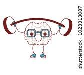 comic brain weight lifting... | Shutterstock .eps vector #1023313087