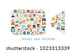 travel icons are grouped in... | Shutterstock .eps vector #1023313339