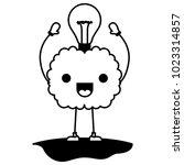 comic brain with bulb kawaii... | Shutterstock .eps vector #1023314857